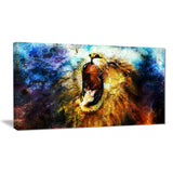 mighty lion emerging animal art canvas print PT7187