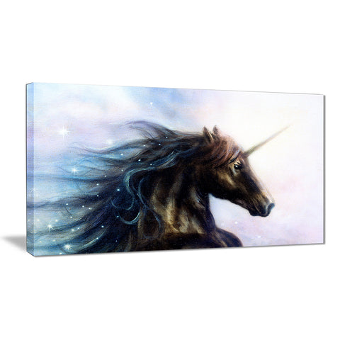 black unicorn animal digital art canvas print PT7193