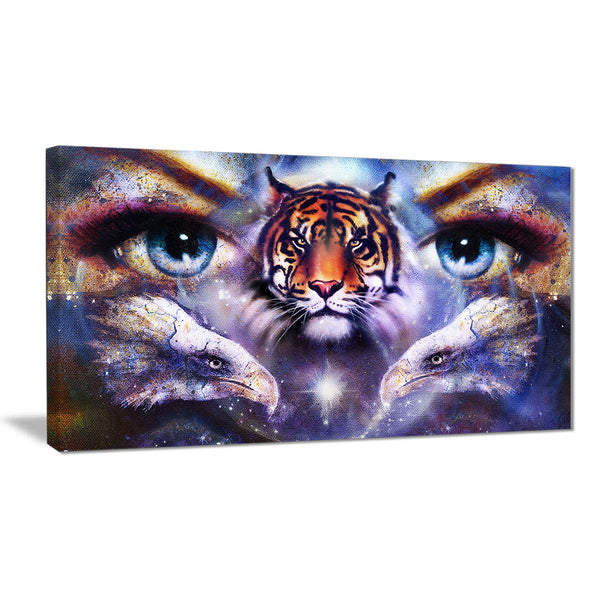 tiger with woman eyes abstract animal canvas art print PT7194