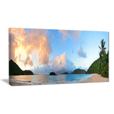 beach sunset with clouds landscape photo canvas print PT7208