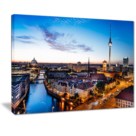 berlin sunset panorama cityscape photo canvas art print PT7209