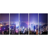hong kong night city cityscape photo canvas art print PT7222
