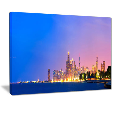city of chicago skyline cityscape photo canvas print PT7223