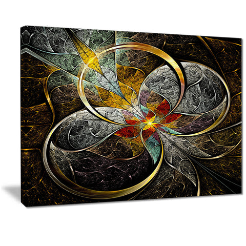 symmetrical brown fractal flowers digital art canvas print  PT7246