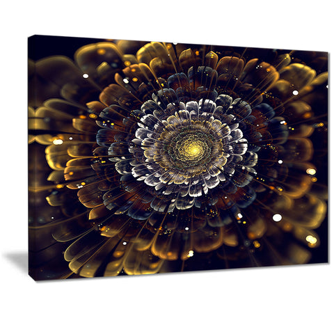 yellow fractal flowers with violet digital art canvas print PT7247