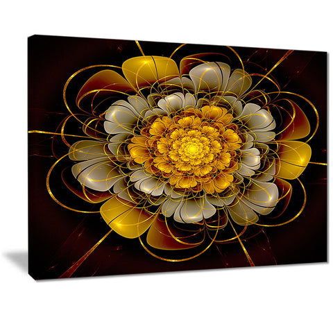 dark gold fractal flower digital art canvas print PT7248