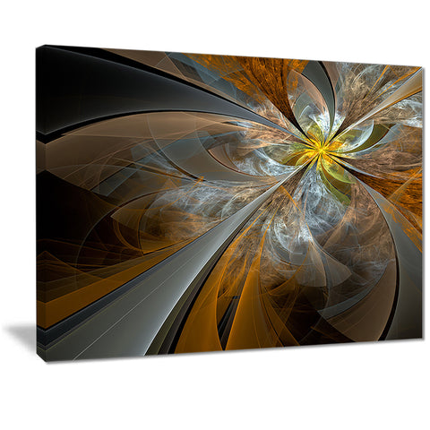 symmetrical yellow fractal flower digital art canvas print PT7254