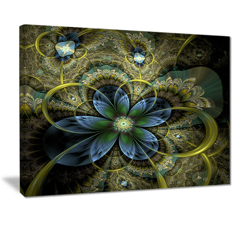 light fractal flower and butterfly digital art floral canvas print PT7259