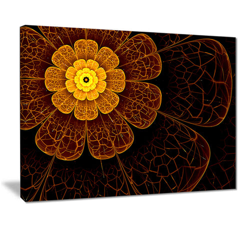 symmetrical orange fractal flower digital art floral canvas print PT7260