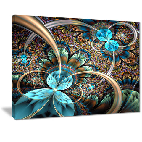 light blue fractal flower digital art floral canvas print PT7261