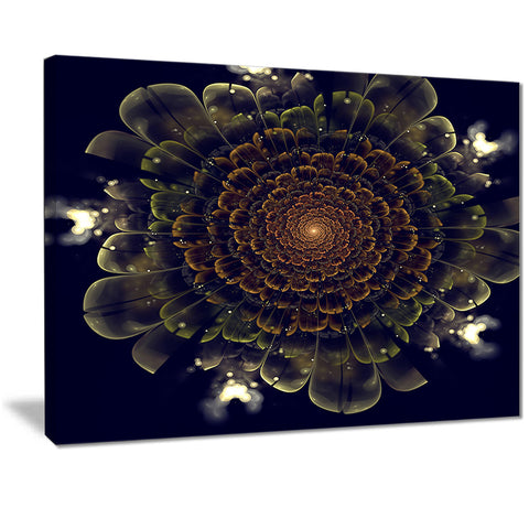 orange fractal flower with green digital art canvas print PT7263