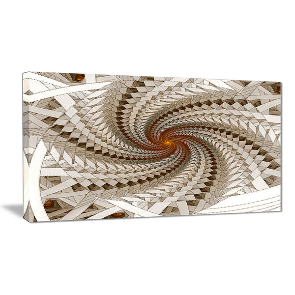 white fractal spiral pattern digital art canvas print PT7264