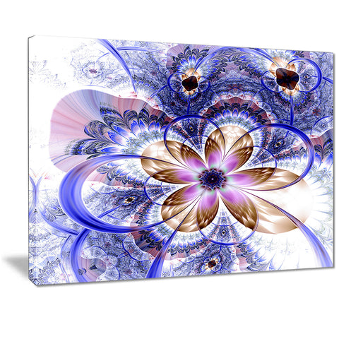 blue light fractal flower digital art floral canvas print PT7271