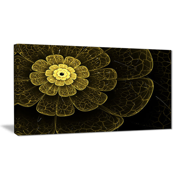 light yellow metallic fabric flower digital art canvas print PT7275
