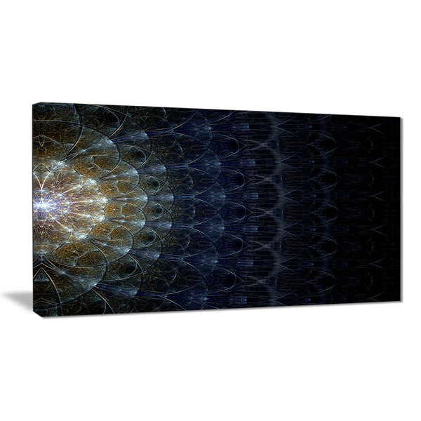 symmetrical blue silver fractal flower digital art canvas print PT7276