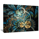 symmetrical blue gold fractal flower digital art canvas print PT7277
