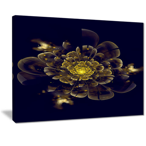 golden metallic fractal flower digital art canvas print PT7278