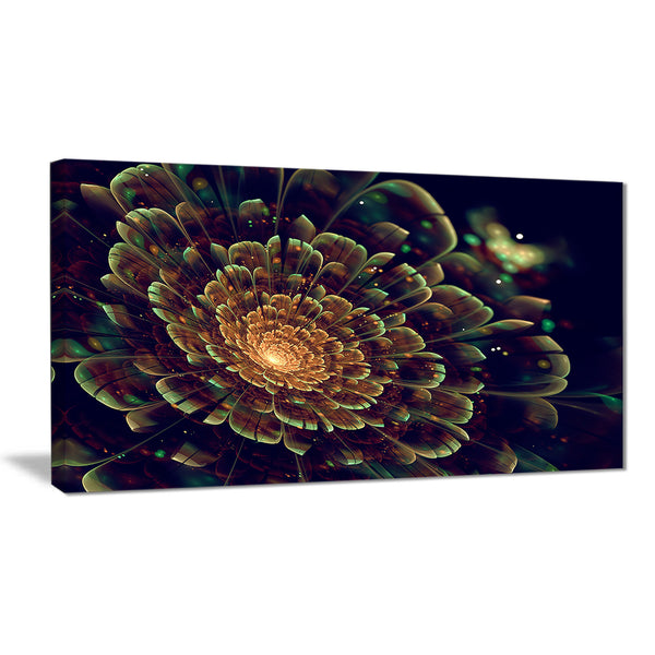 orange metallic fractal flower digital art canvas print PT7279