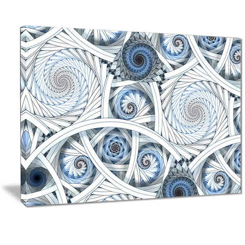 white spiral with blue fractal art abstract digital canvas print PT7281