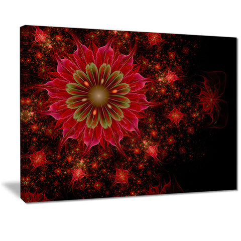 dark red and light green fractal flowers digital art canvas print PT7283