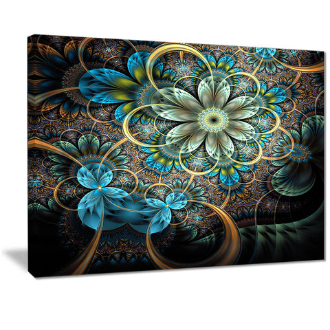 lighted blue fractal blue flowers digital art floral canvas print PT7284