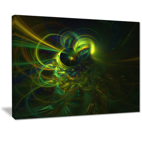 green fractal light forms abstract digital canvas art print PT7285