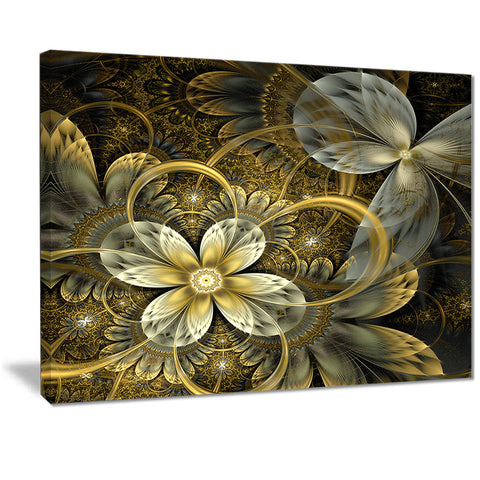 fractal orange yellow flowers digital floral canvas print PT7286