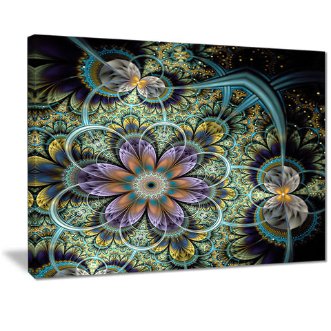 symmetrical green fractal flower digital art floral canvas print PT7289