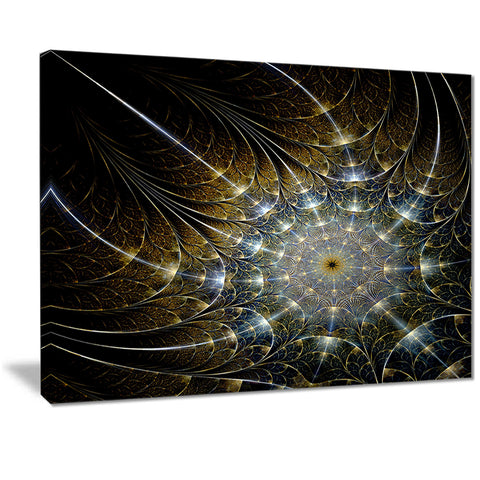 symmetrical brown fractal flower digital art canvas print PT7292