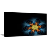 symmetrical blue orange fractal flower digital art canvas print PT7293