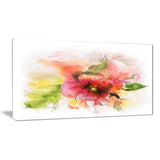 pink and red floral design watercolor floral art canvas print PT7301