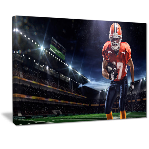 american footballer in action on stadium sports canvas print PT7308