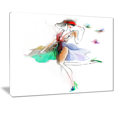 fashion girl in multiple colors portrait canvas art print PT7317