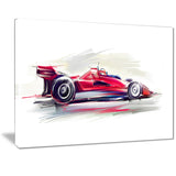 red formula one car digital art car canvas print PT7319