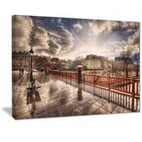 bridge in rain landscape photo canvas art print PT7322