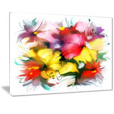 textured flowers in multiple hues painting canvas print PT7324