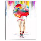 girl with red umbrella digital art portrait canvas print PT7328