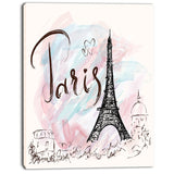 illustration with eiffel tower abstract cityscape canvas print PT7336