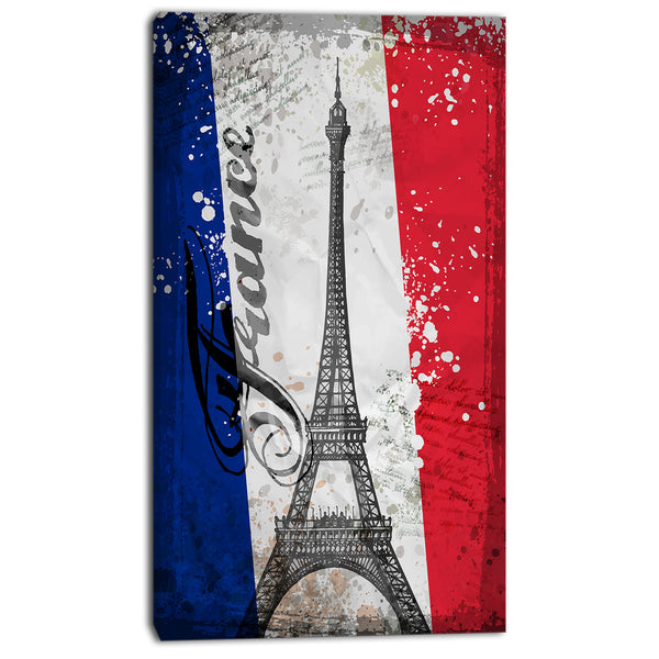 eiffel tower on french flag digital art canvas art print PT7337