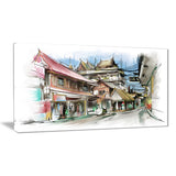city street illustration art cityscape street art canvas print PT7346