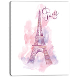 eiffel tower in purple watercolor painting canvas print PT7351