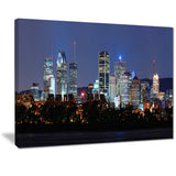 montreal over river at dusk cityscape photo canvas print PT7356
