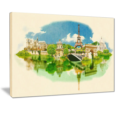 paris panoramic view cityscape watercolor canvas print PT7370