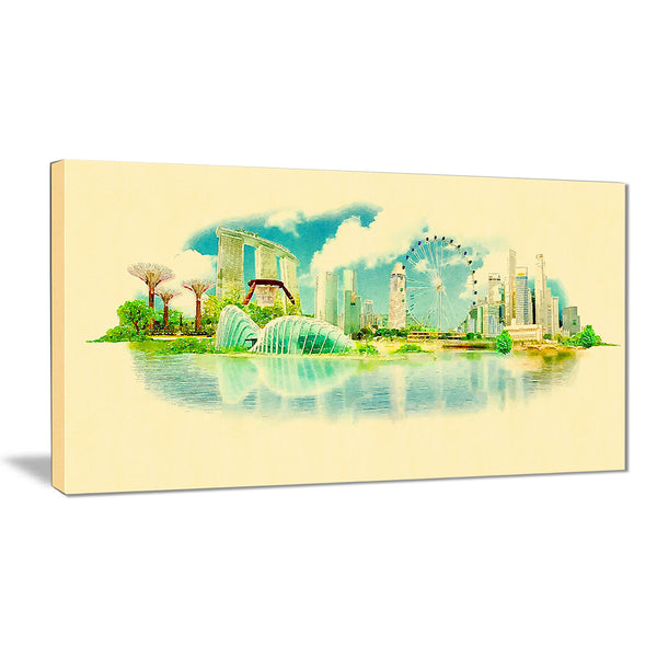 singapore panoramic view cityscape watercolor canvas print PT7373