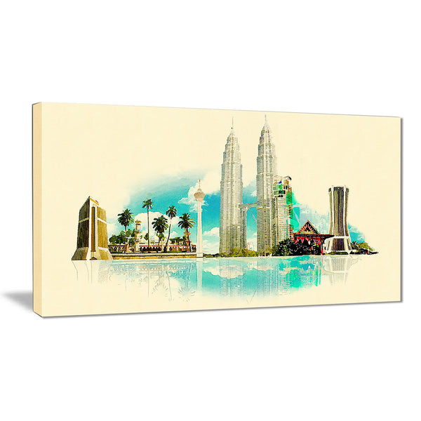 kuala lumpur panoramic view cityscape watercolor canvas print PT7375