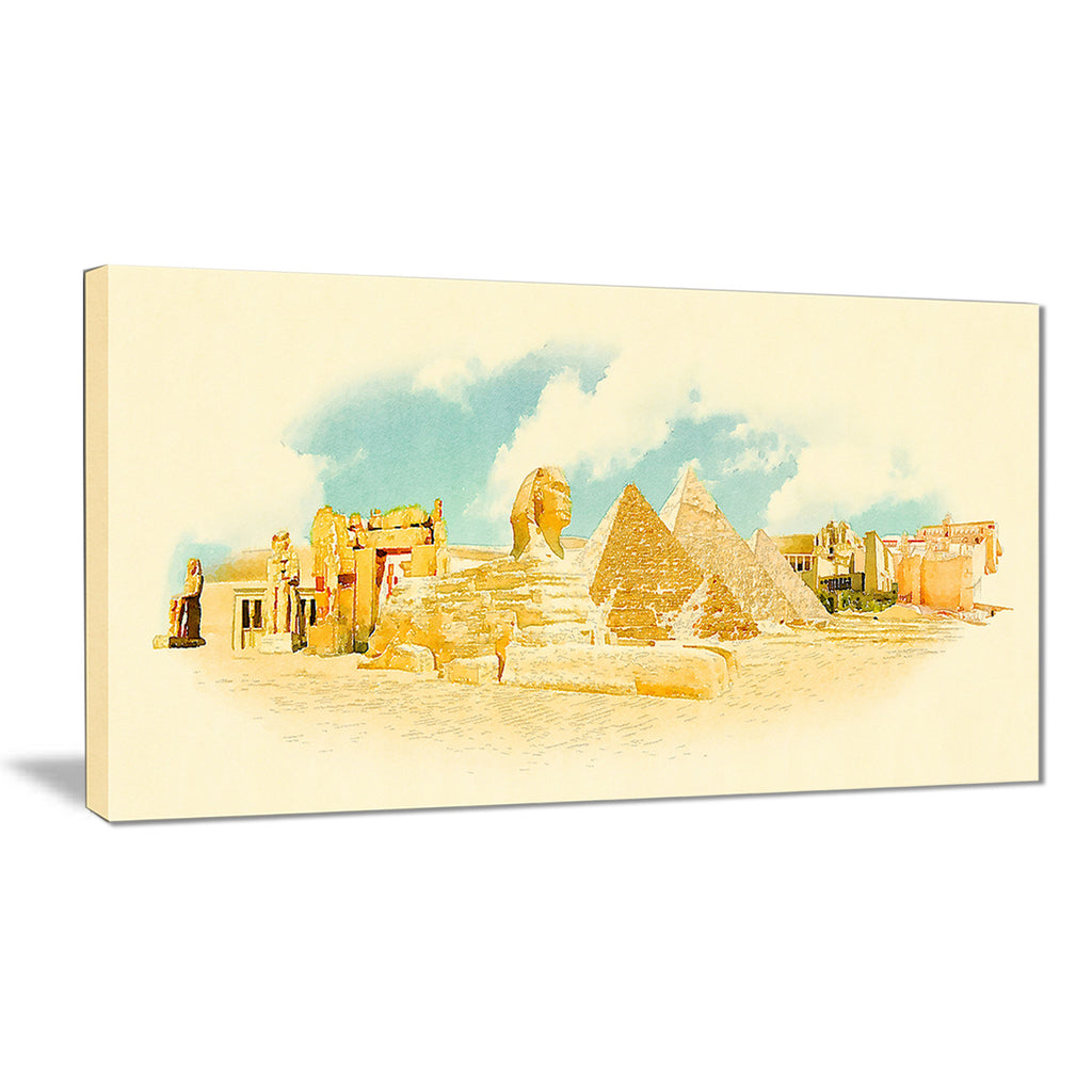 cairo panoramic view cityscape watercolor canvas print PT7376 – fabuart