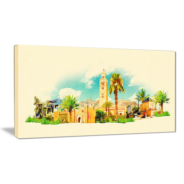 marakesh panoramic view cityscape watercolor canvas print PT7377