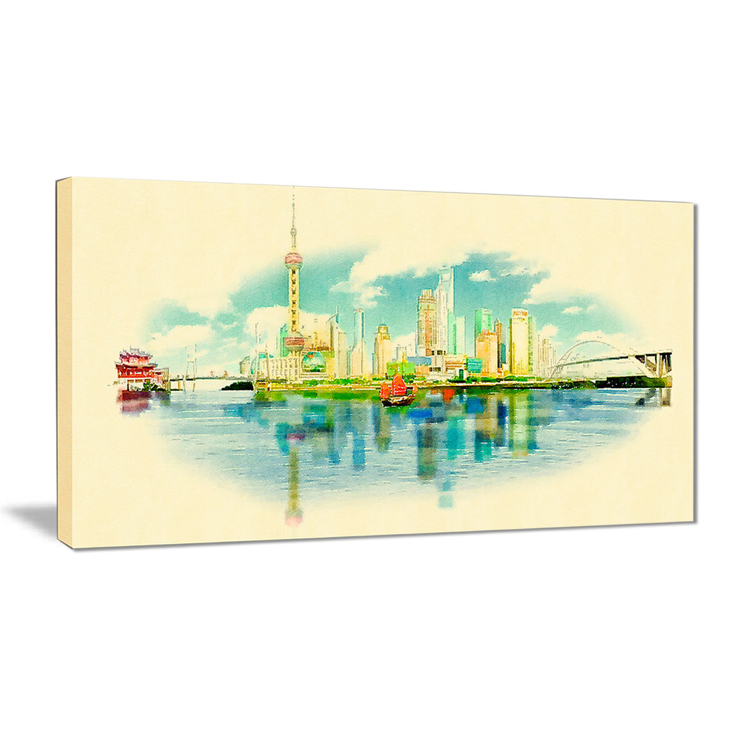 shanghai panoramic view cityscape watercolor canvas print PT7378 ...