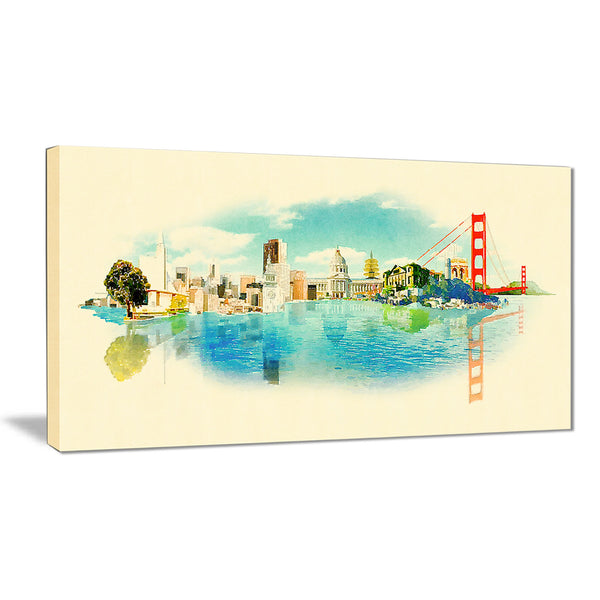 san francisco panoramic view cityscape watercolor canvas print PT7381