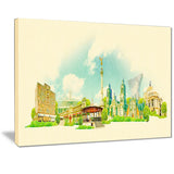 mexico city panoramic view cityscape watercolor canvas print PT7383
